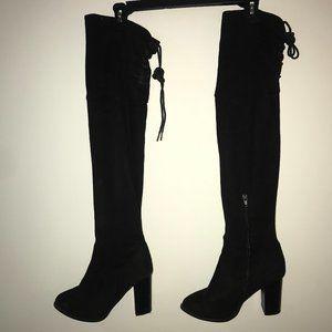 Black Over the Knee Boot Heels